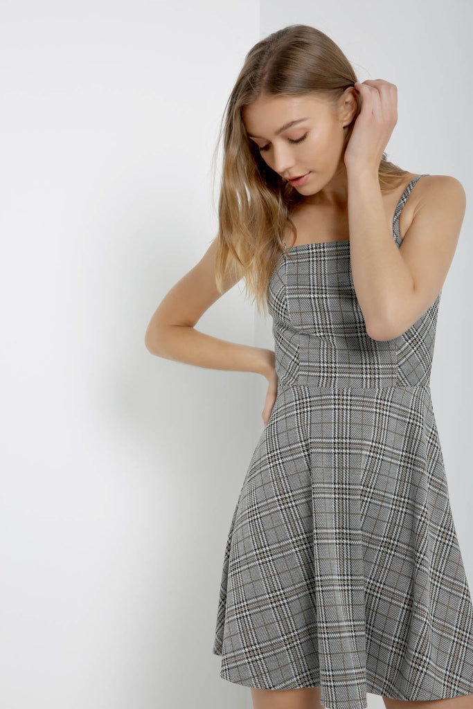 Poshsquare Dress S / Black Gold Glen Glen Plaid Fit and Flare Dress