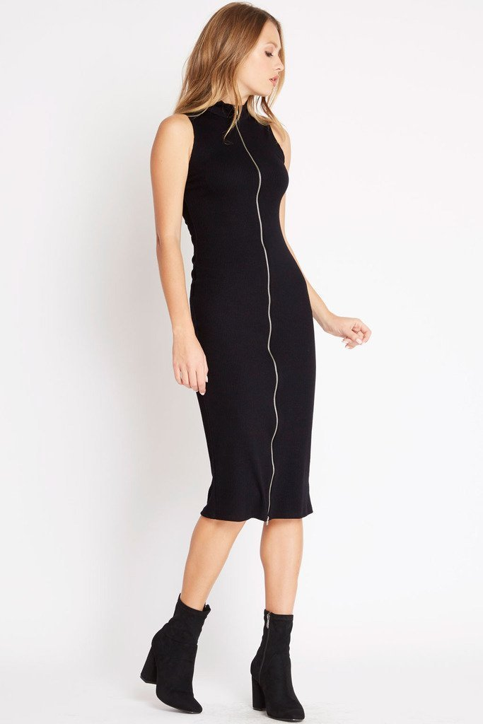Poshsquare Dress S / Black Lean On Ribbed Sweater Dress