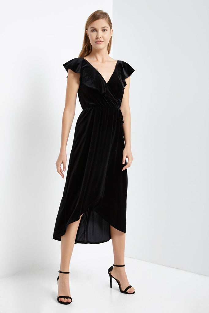 Poshsquare Dress S / Black Prim Velvet Ruffle Wrap Dress