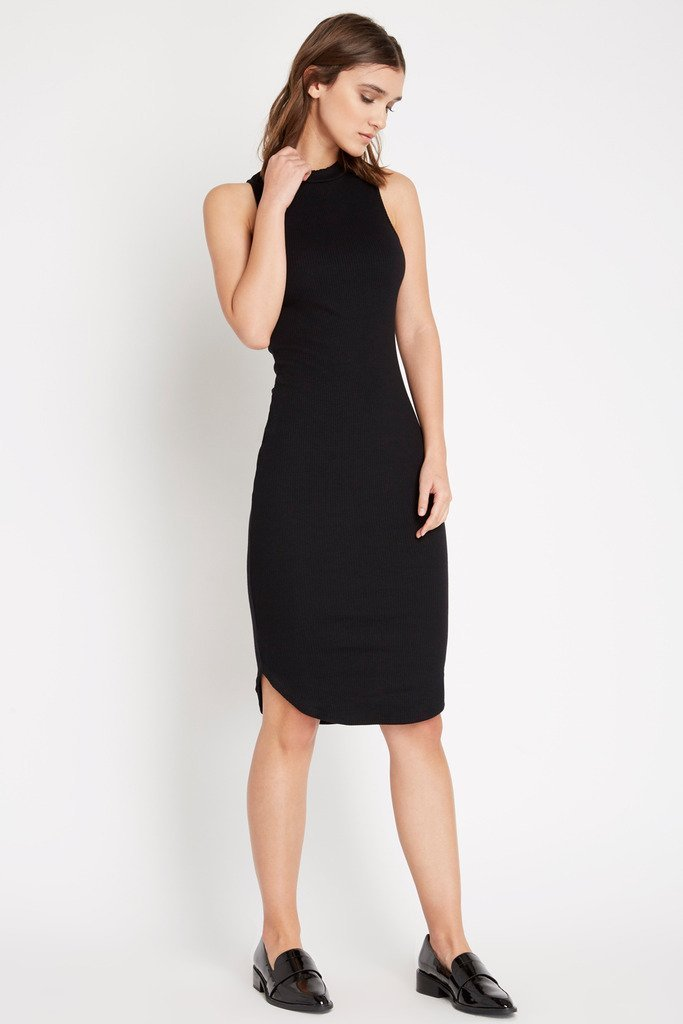 Poshsquare Dress S / Black Riviting Ribbed Bodycon Dress