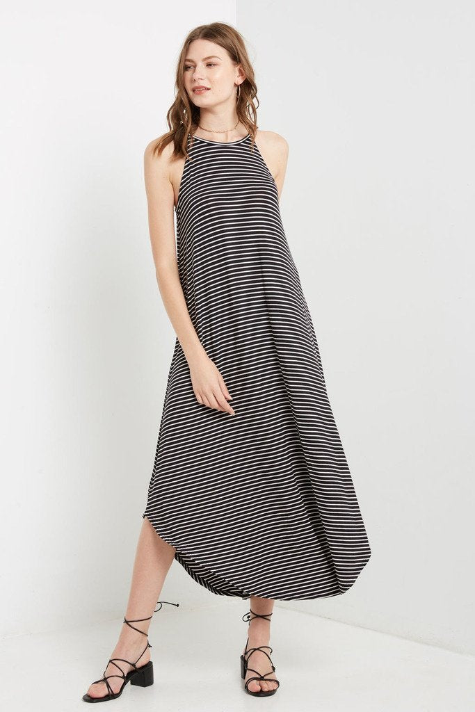 Poshsquare Dress S / Black Stripes Striped Maxi Dress