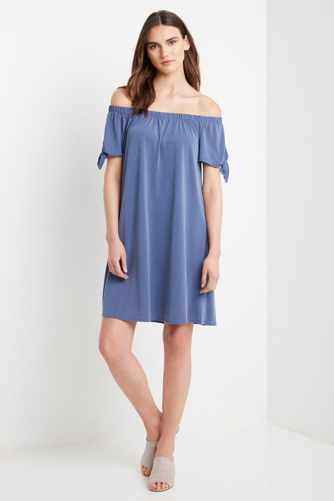 Poshsquare Dress S / Blue Bare Off the Shoulder Swing Dress
