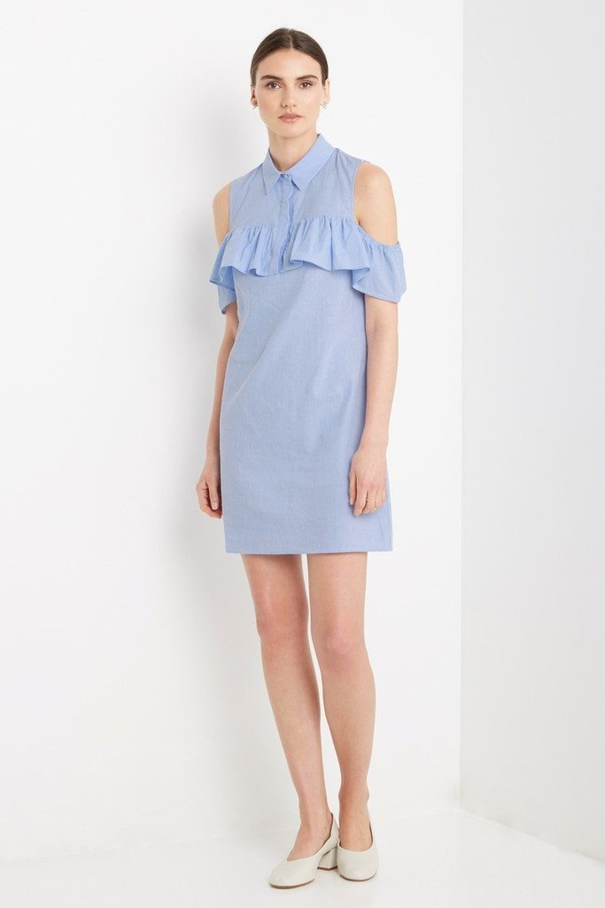 Poshsquare Dress S / Blue Jaded Cold Shoulder Shift Dress