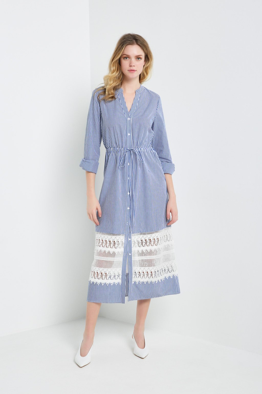 Poshsquare Dress S / Blue Pinstripes Lace Panel Shirt Dress