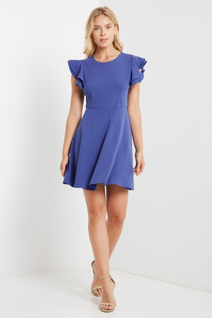 Poshsquare Dress S / Blue Purple Ruffle Sleeve Fit and Flare Dress