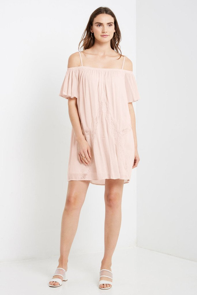 Poshsquare Dress S / Blush Camino Cold Shoulder Swing Dress