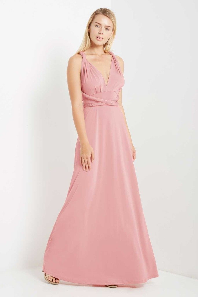Poshsquare Dress S / Blush Multi Wrap Maxi Dress