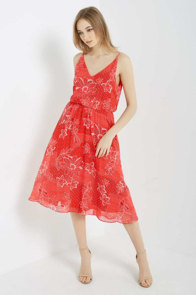 Poshsquare Dress S / Candy Red Contrast Floral Midi Dress