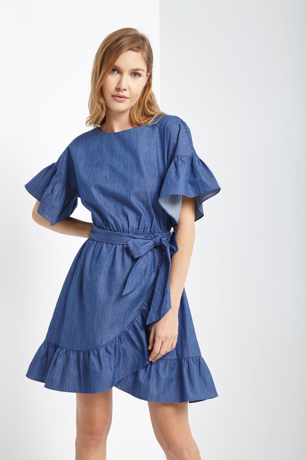 Poshsquare Dress Bridge Chambray Ruffle Dress