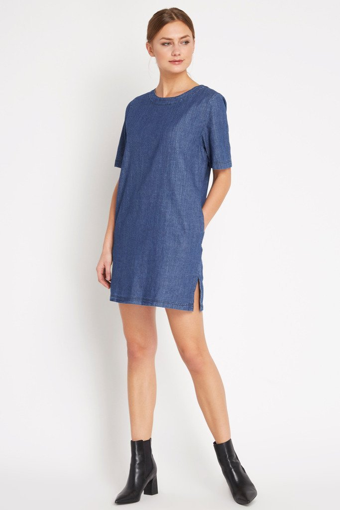 Poshsquare Dress S / Chambray Chambray Easy Choice Shift Dress