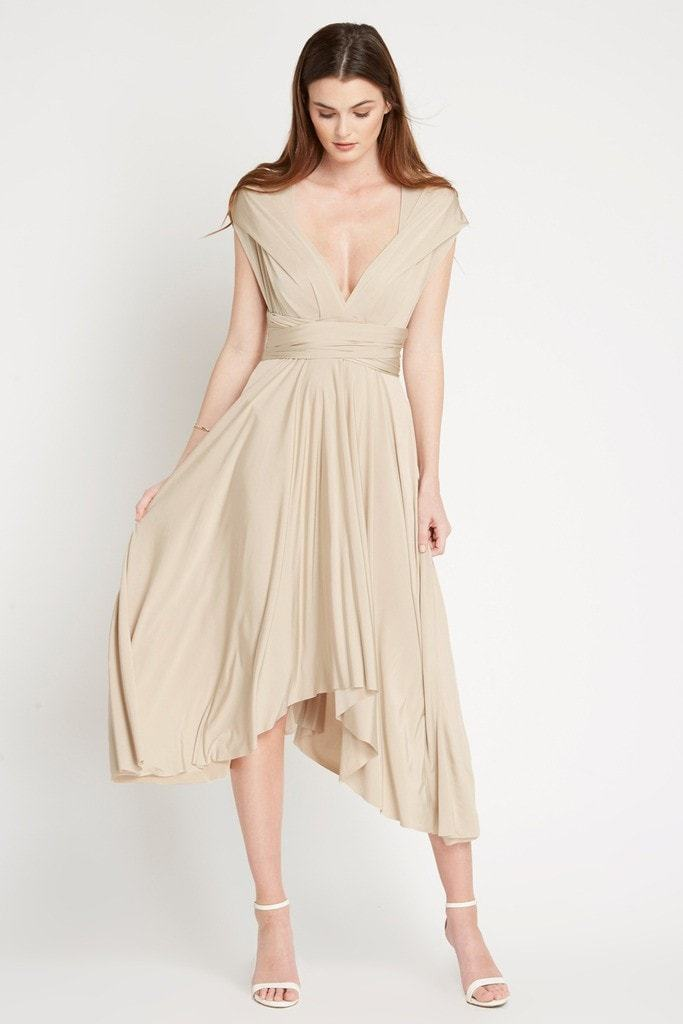 Poshsquare Dress S / Champagne Multi Chic Wrap Maxi Dress