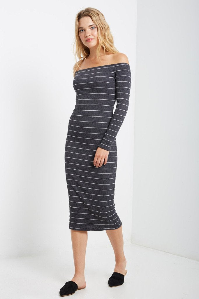 4b7e2534954a Poshsquare Dress S   Charcoal Mary Striped Off the Shoulder Bodycon Dress