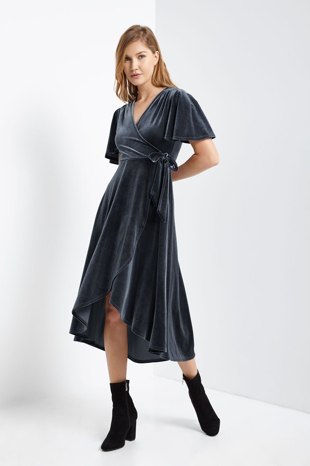 Poshsquare Dress Velvet Side Tie Wrap Dress