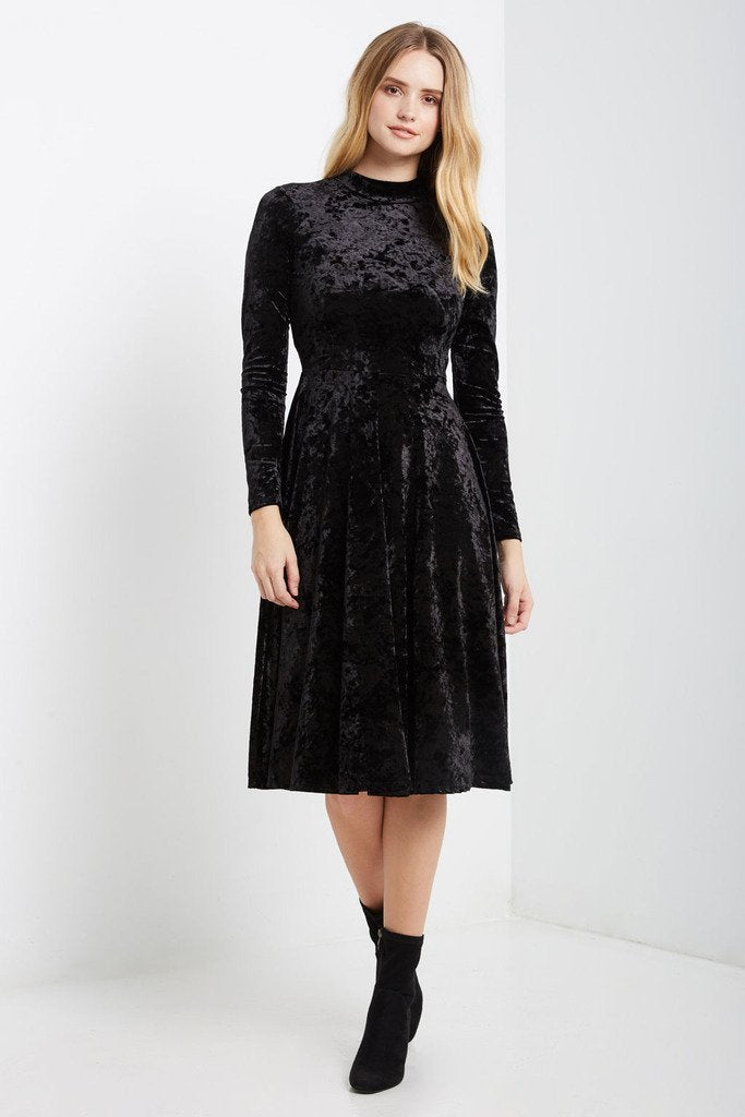 Poshsquare Dress S / Crushed Black Bale Velvet Fit and Flare Midi Dress