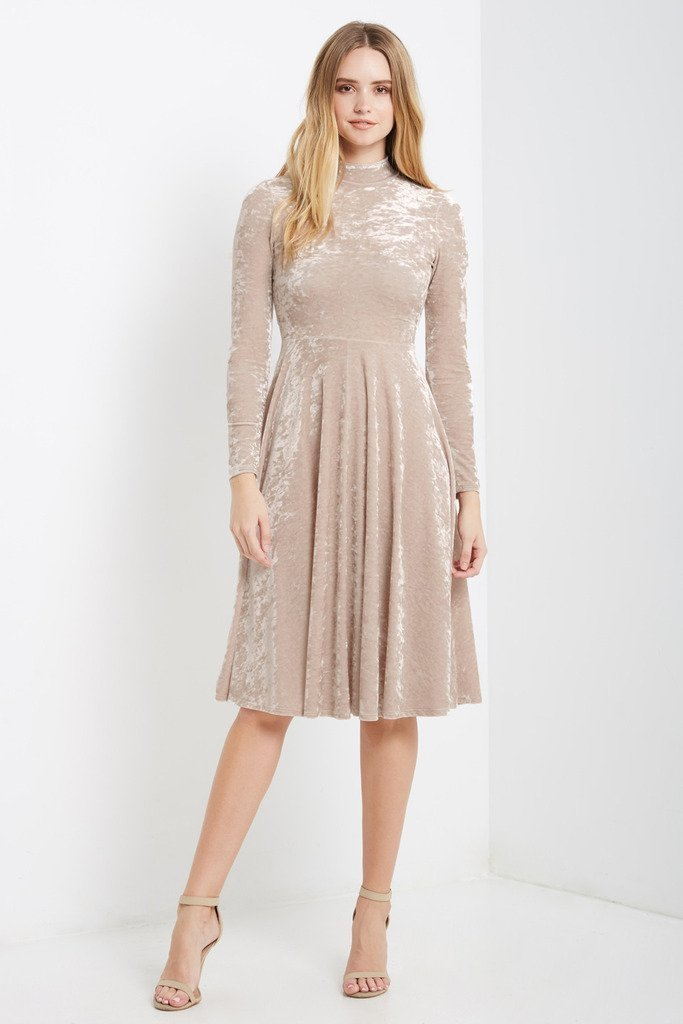 Poshsquare Dress S / Crushed Champagne Bale Velvet Fit and Flare Midi Dress