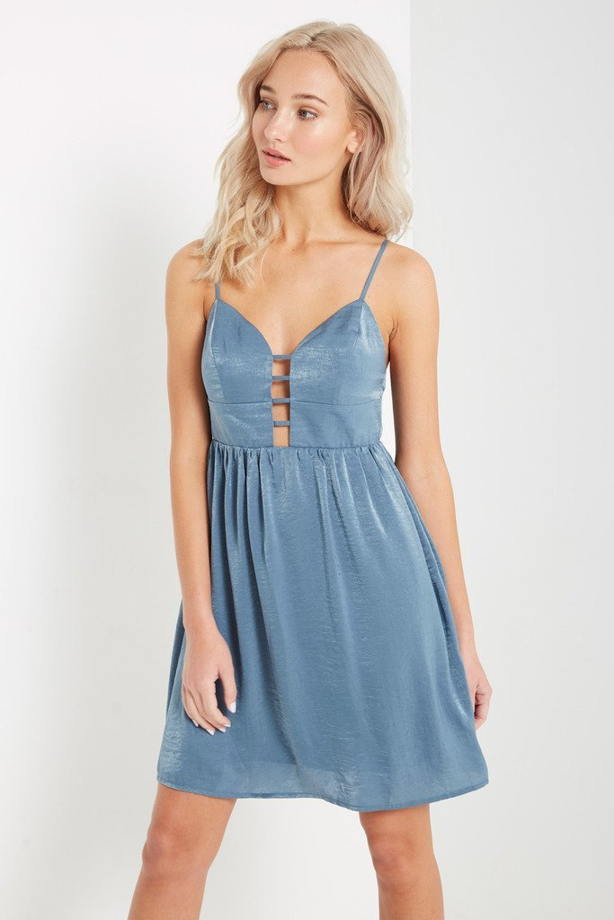 Poshsquare Dress S / Dusty Blue Blue Lucy Fit and Flare Dress