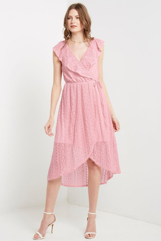 Poshsquare Dress S / Dusty Pink Blush Resort Lace Maxi Dress