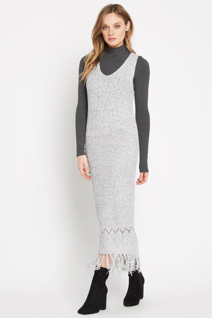 Poshsquare Dress S / Grey Grey Peace Within Fringed Hem Sweater Maxi Dress
