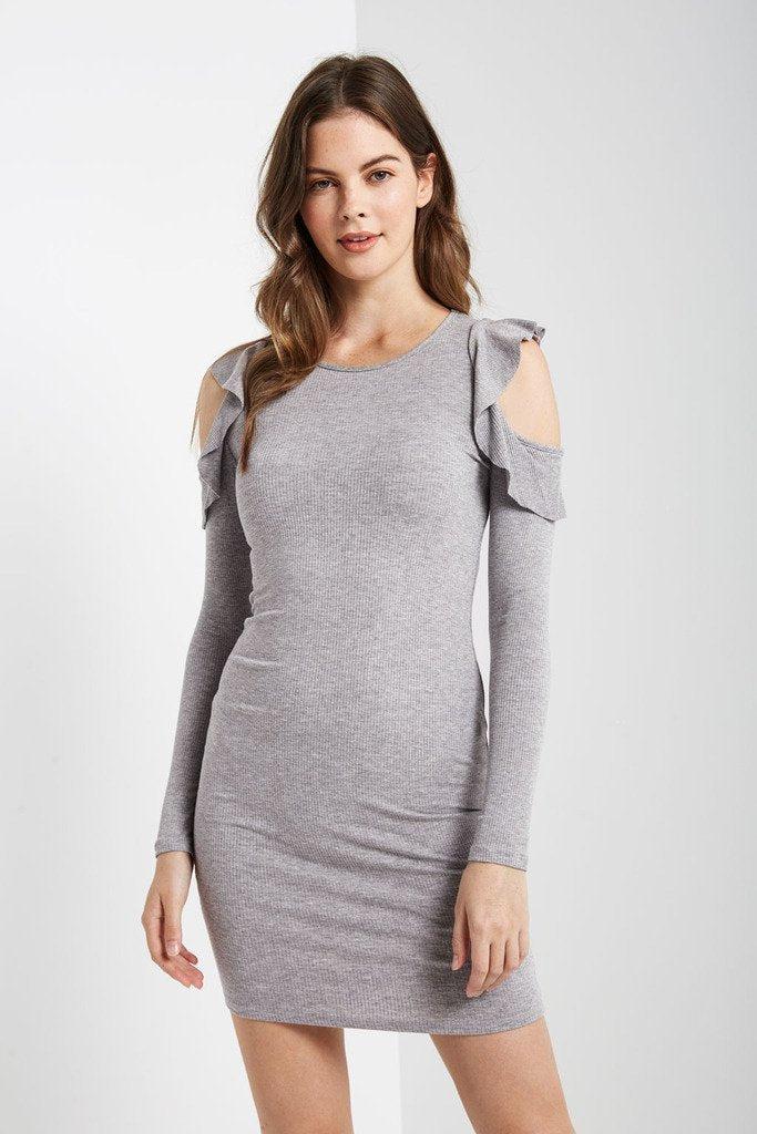 Poshsquare Dress S / Heather Grey Sansa Cold Shoulder Bodycon Dress
