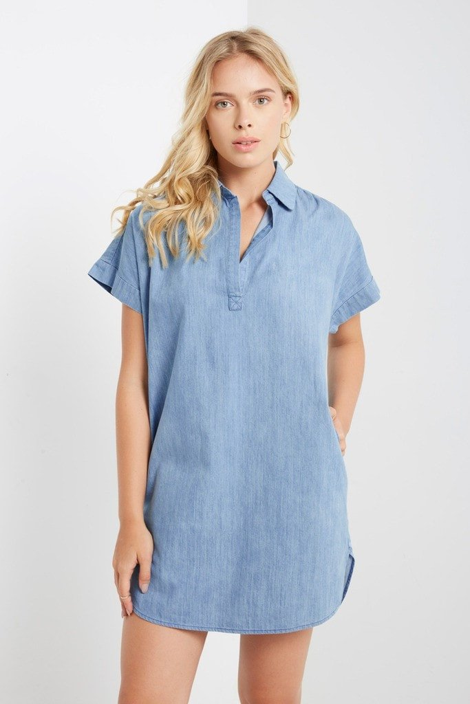 Poshsquare Dress S / Light Blue Amy Chambray Collared Shift Dress