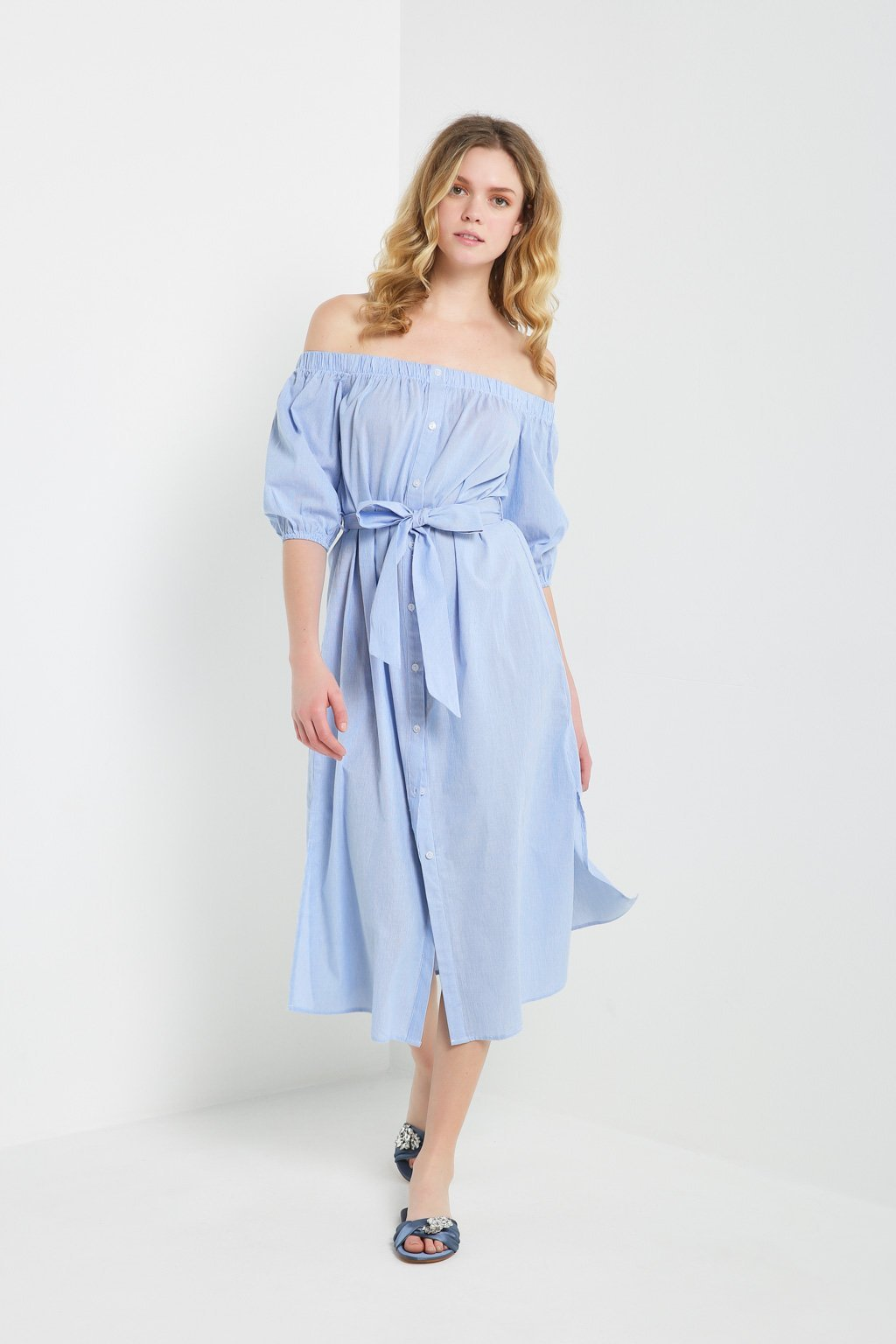 Poshsquare Dress S / Light Blue Maripose Striped Off the Shoulder Maxi Dress