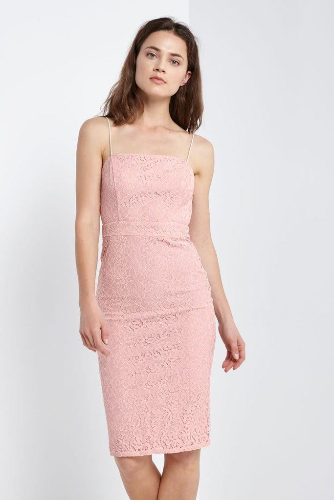 Poshsquare Dress S / Light Pink Backless Lace Dress