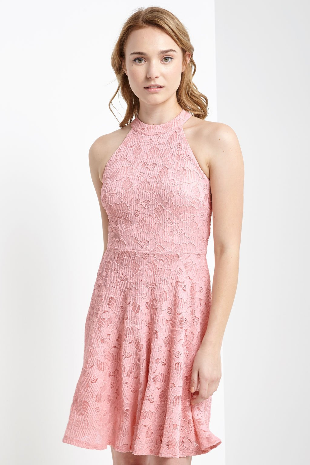 Poshsquare Dress S / Light Pink Fit and Flare Lace Halter Dress