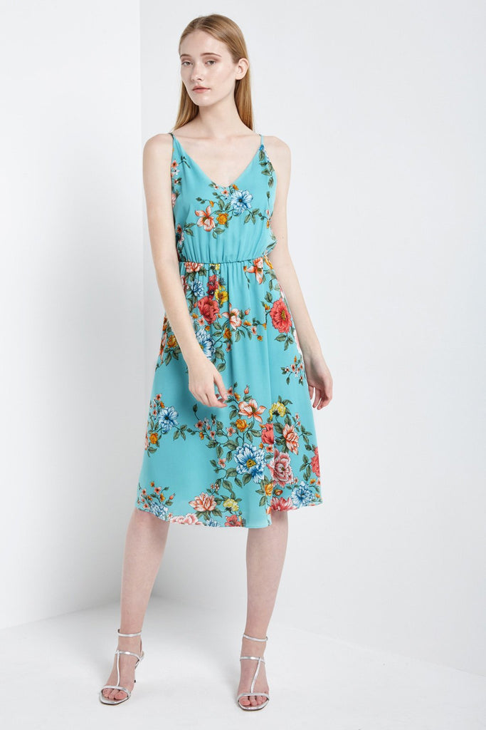 Poshsquare Dress S / Mint Spring Blossoms Midi Dress