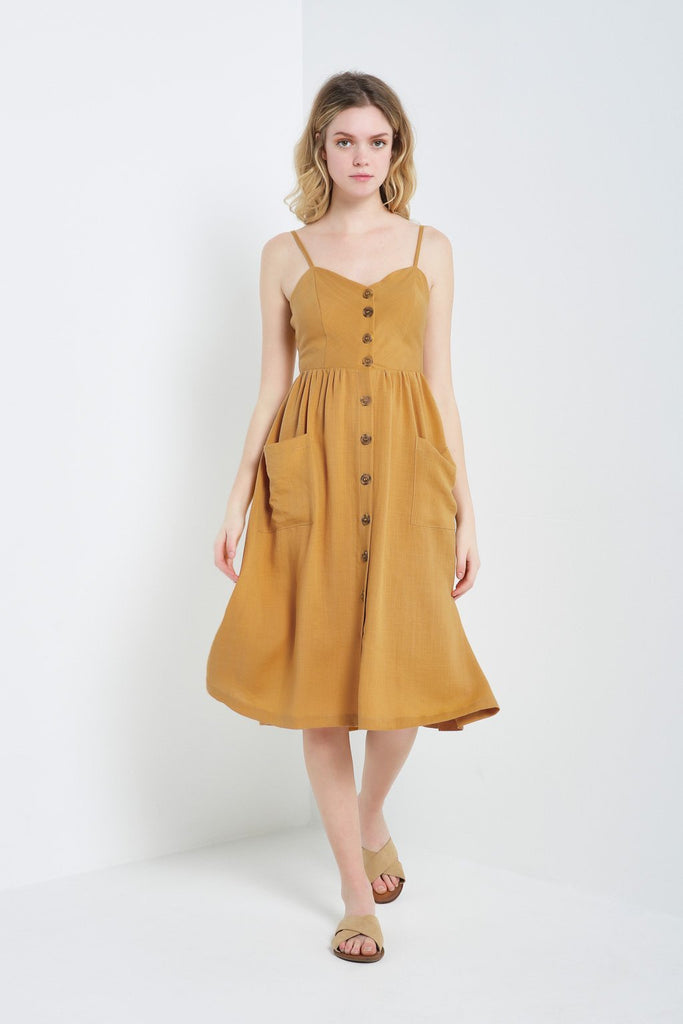 Poshsquare Dress S / Mustard Button-Front Midi Dress