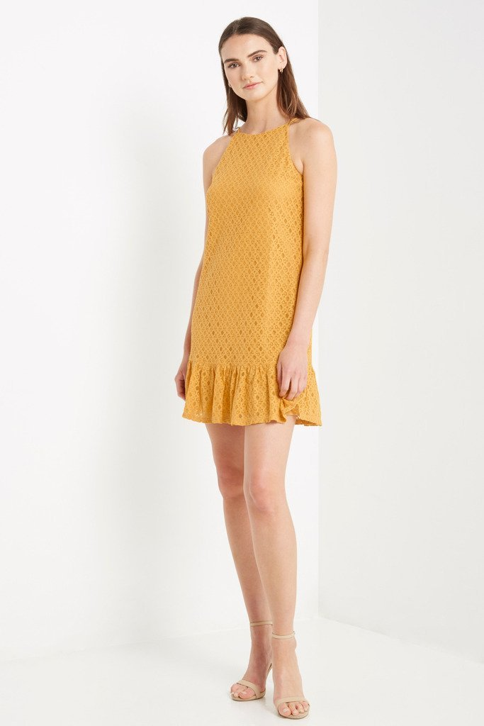 Poshsquare Dress S / Mustard Mustard Alice Ruffle Hem Dress