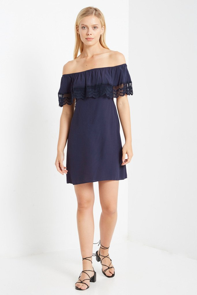 Poshsquare Dress S / Navy Adora Off the Shoulder Shift Dress