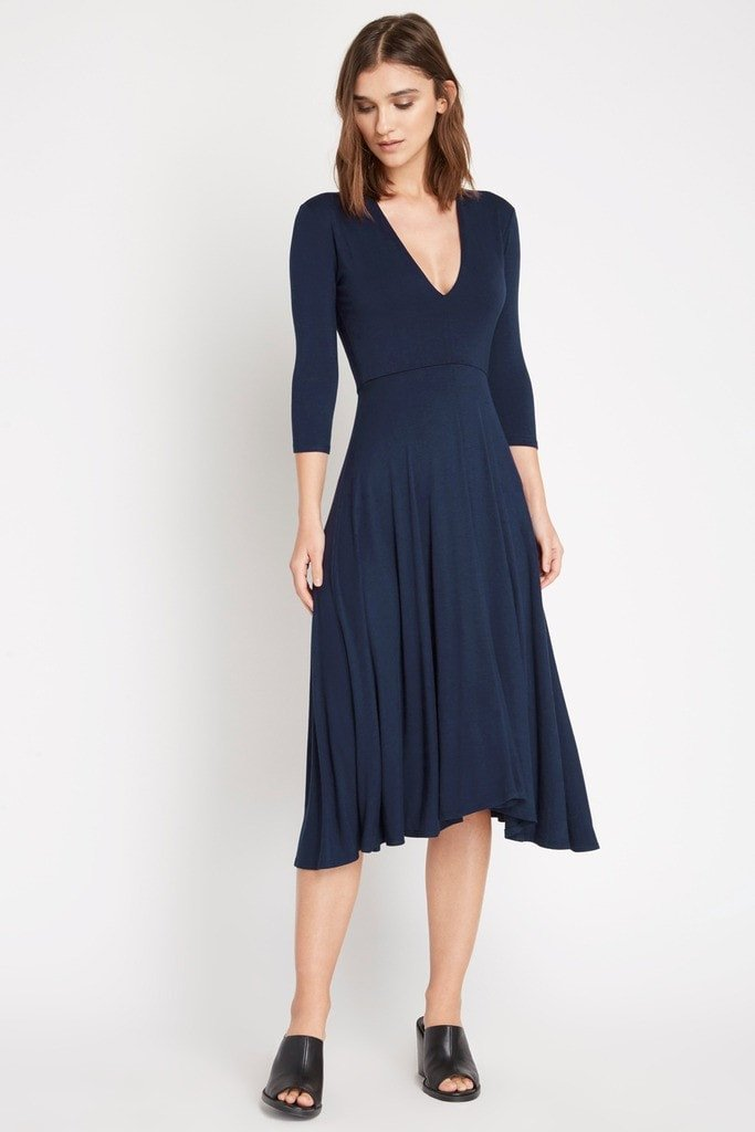 Poshsquare Dress S / Navy Lilah Fit and Flare Midi Dress