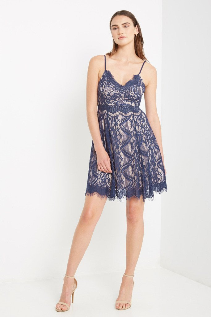 Poshsquare Dress S / Navy Rosali Lace Fit and Flare Dress