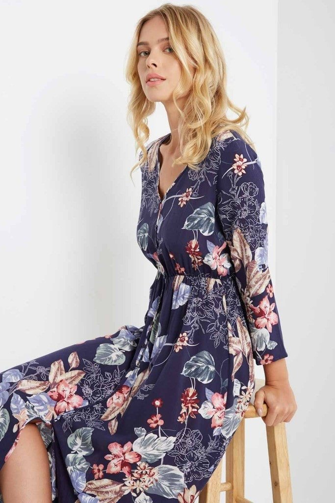 Poshsquare Dress S / Navy Sade Floral Button Down Maxi Dress