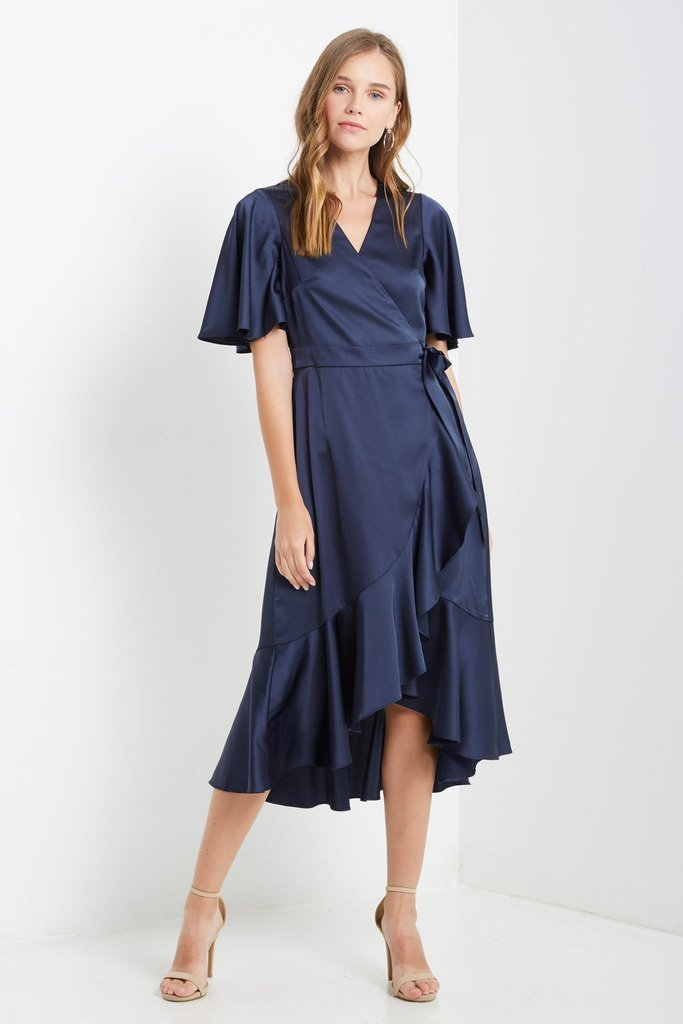 Poshsquare Dress S / Navy Satin Wrap Midi Dress