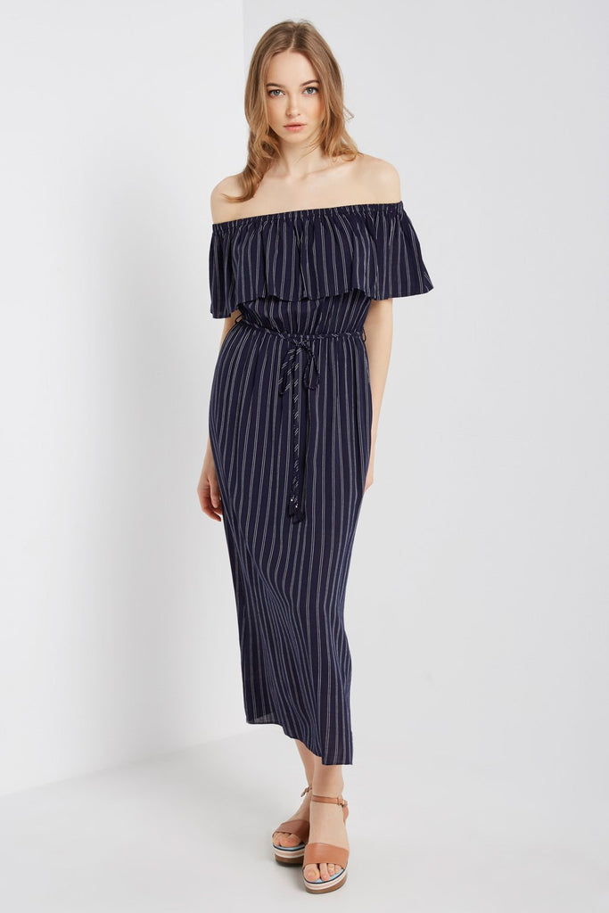 Poshsquare Dress S / Navy Striped Off the Shoulder Maxi Dress
