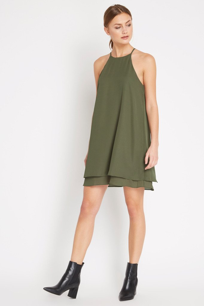 Poshsquare Dress S / Olive Chiffon And On Swing Dress