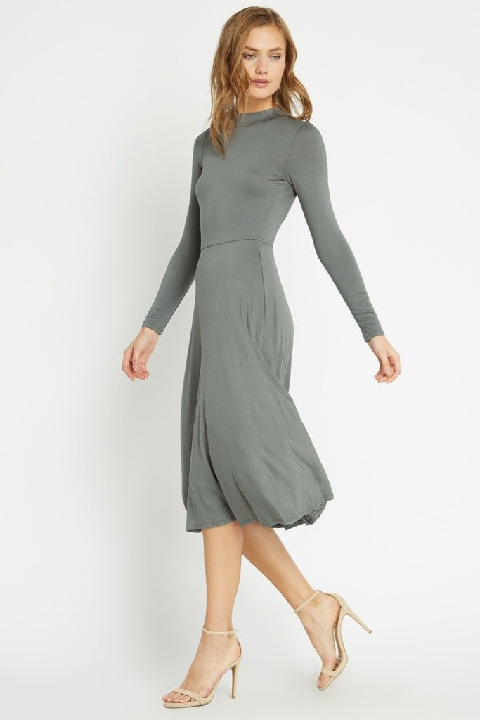 Poshsquare Dress S / Olive Montage Fit and Flare Midi Dress