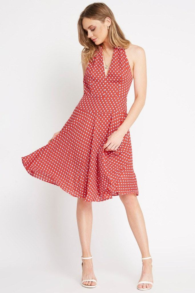 Poshsquare Dress S / Red Keepsake Printed Halter Dress