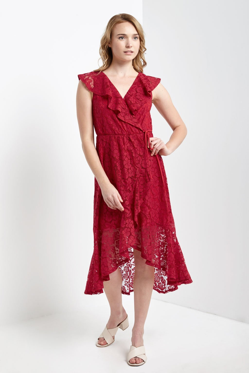 Poshsquare Dress S / Red Lace Ruffle Wrap Dress