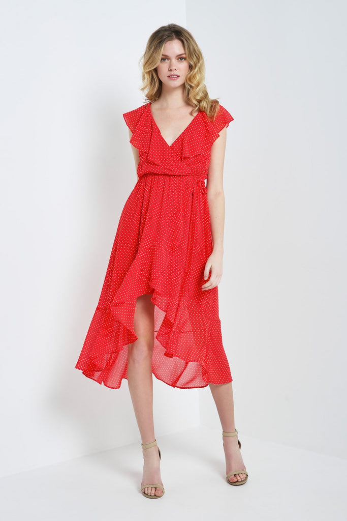 Poshsquare Dress S / Red Polkadot Ruffle Wrap Dress
