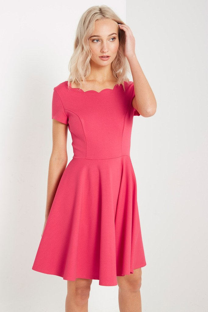 Poshsquare Dress S / Red Scallop Fit and Flare Dress