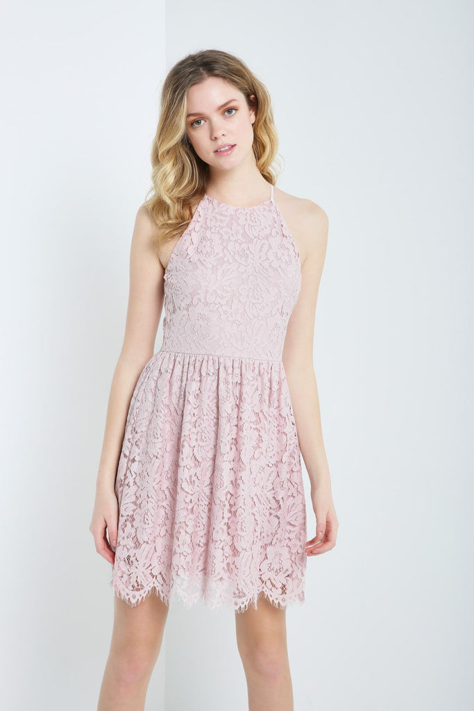 Poshsquare Dress S / Rose Lace Fit and Flare Dress