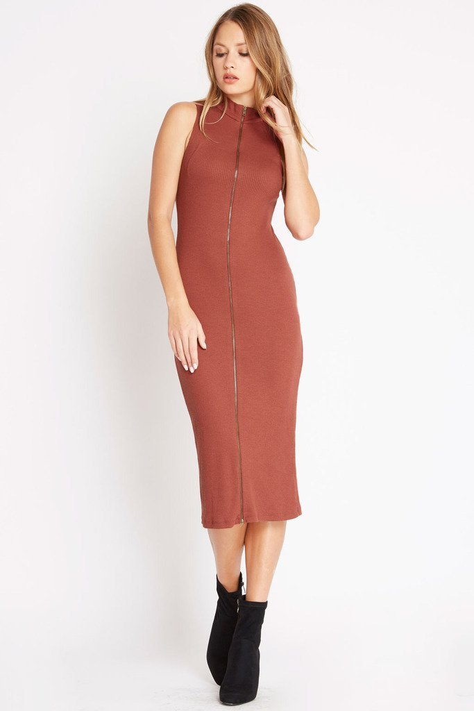 Poshsquare Dress S / Rust Lean On Ribbed Sweater Dress