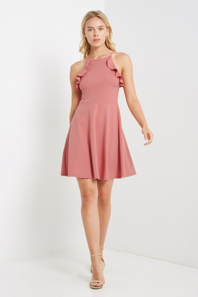 Poshsquare Dress S / Salmon Noon Fit and Flare Dress