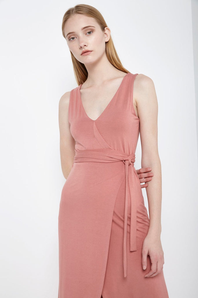 Poshsquare Dress S / Salmon Wrap Front Midi Dress