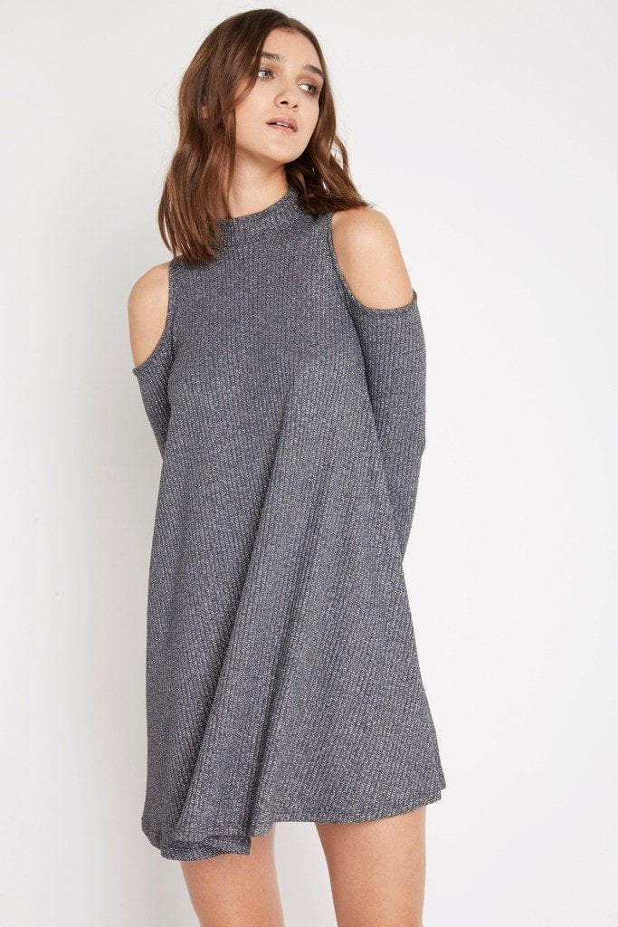 Poshsquare Dress S / Silver Glimpse of Me Sweater Swing Dress