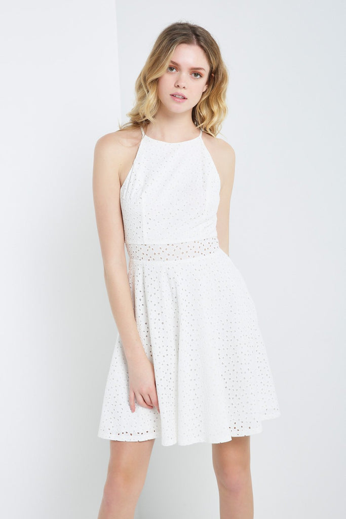 Poshsquare Dress S / White Eyelet Lace Fit and Flare Dress