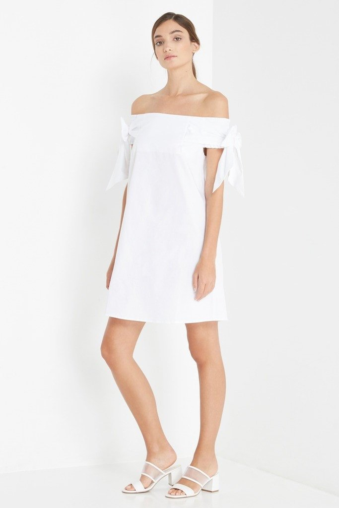 Poshsquare Dress S / White Jamie Off the Shoulder Shift Dress