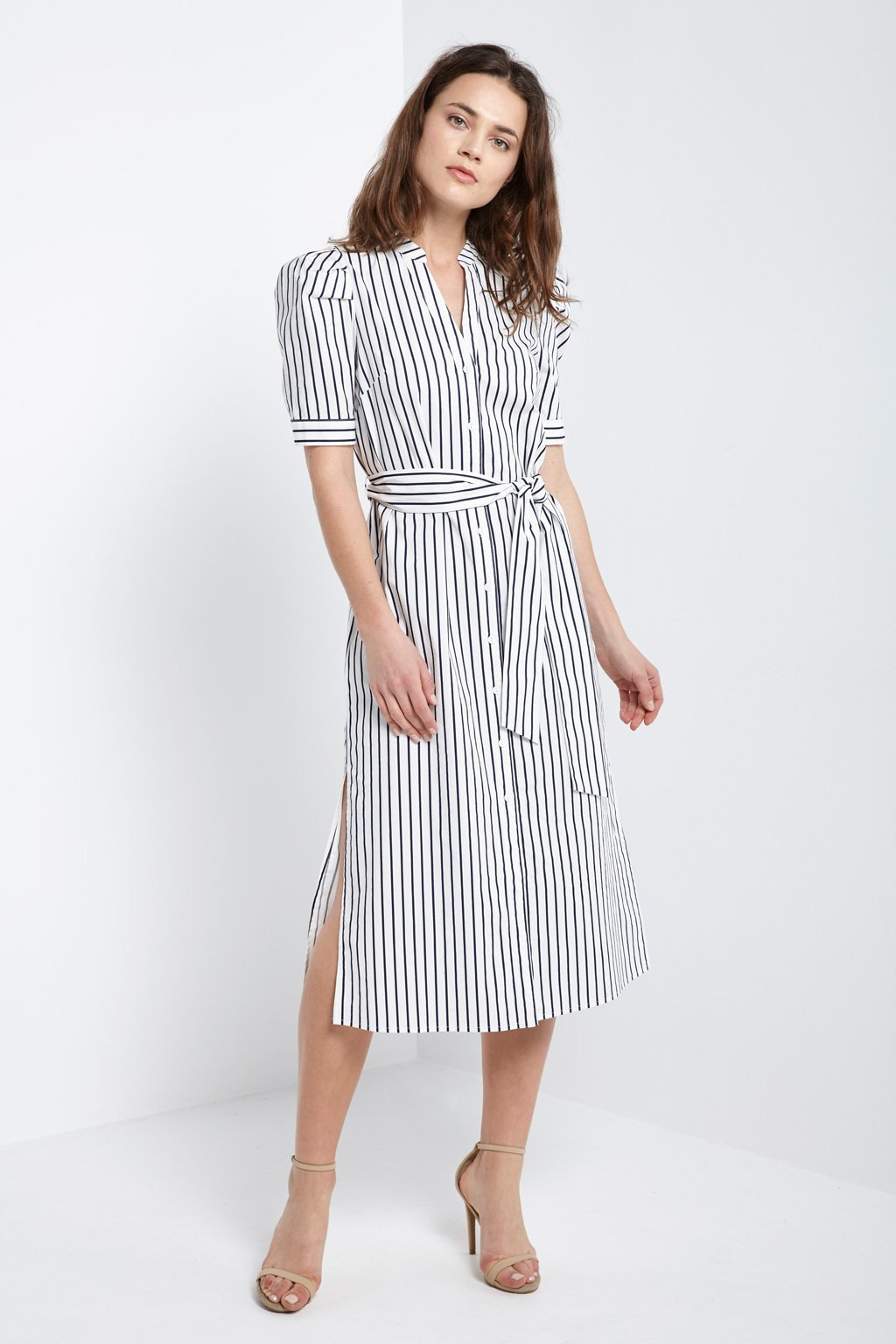Poshsquare Dress S / White Stripe Button Down Side Slit Dress